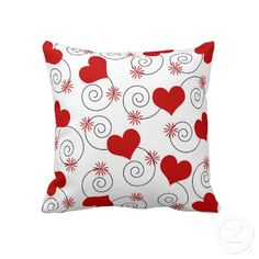 """Hearts and swirls. Throw Pillow 20"""" x 20""""."""