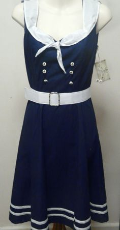 I would love to wear this and greet my husband pulling in after getting underway/deployment.  Sailor Dress Rockabilly Clothing 50s Pin Up by OnTheFrontLine, $89.95