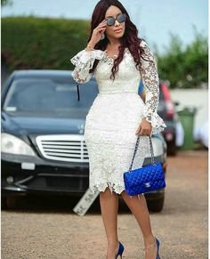 African lace dresses - weddingguest Regrann from dumas TBT 💙💙 regrann African Lace Styles, African Lace Dresses, Latest African Fashion Dresses, Lace Dress Styles, African Traditional Dresses, African Attire, White Dress, August 10, Business Dresses