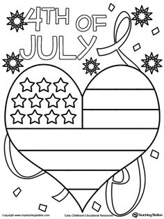 **FREE** 4th of July Heart Flag Coloring Page Worksheet. Celebrate #4thofJuly with this heart flag coloring page.