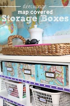 Decorative home organizing idea: Decoupaged-Map-Covered-Storage-Boxes