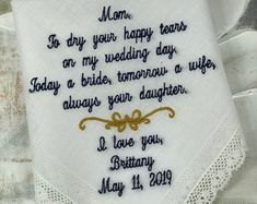 Embroidered Wedding Handkerchiefs, Fast Turnaround by elegantmonogramming Last Minute Wedding Gifts, Wedding Gifts For Groom, Custom Wedding Gifts, Personalized Wedding, Mother Of Bride Gifts, Wedding Handkerchief, Handkerchiefs, Elegant, Wedding Ideas