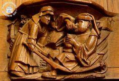 Miséricorde. Femme ramenant son mari ivre dans une brouette...il continue à boire...
