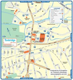 Map of Tonbridge created in 2011 for Thomson Directories. One of approximately 350 UK town and city maps produced royalty free. Find out more...  http://www.pcgraphics.uk.com   or read our blog...    http://www.pcgraphics.uk.com/blog/