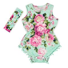 a72756f990f Hot Pink Floral Flower Pom Rompers For Baby Girls with headband 0-3T (M