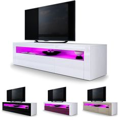 TV Unit Stand Cabinet Sideboard Valencia in White - High Gloss & Natural Tones in Home, Furniture & DIY, Furniture, TV & Entertainment Stands   eBay