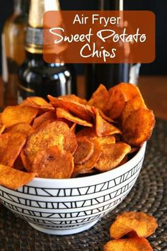 Air Fryer Sweet Potato Chips are fried the healthy way. Less than 30 minutes for a handful of spicy chips. Vegan, Paleo, and a delicious side dish, snack or appetizer. via 30 recipe air fryer Air Fryer Sweet Potato Air Frier Recipes, Air Fryer Oven Recipes, Air Fryer Dinner Recipes, Vegan Snacks, Healthy Snacks, Healthy Recipes, Healthy Life, Vegetarian Recipes, Gourmet Recipes