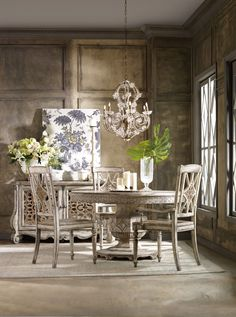 Shop this hooker furniture chatelet paris vintage wide round dining table from our top selling Hooker Furniture dining room tables. LuxeDecor is your premier online showroom for dining room furniture and high-end home decor. Round Dining Room, Round Wood Dining Table, Round Extendable Dining Table, Dining Table In Kitchen, Solid Wood Dining Chairs, Rustic Living Room Design, Dining Chair Set, Dining Table Chairs, Star Furniture