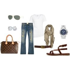 ripped jeans, wayfarers, scarf, cool purse, and JewelryByMignon ;)