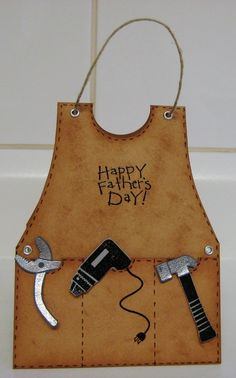 """I taught an """"Apron Cards"""" class years ago.I made several cards… Masculine Birthday Cards, Birthday Cards For Men, Man Birthday, Masculine Cards, Birthday Gifts, Boy Cards, Cute Cards, Shaped Cards, Fathers Day Crafts"""