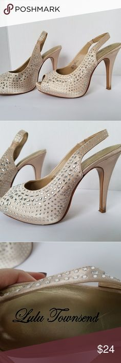 Lulu Townsend Champagne Sparkly Heels Beautiful and sexy peep toe sling back platform heels. Satiny champagne color with crystals. Some wear to inside sole and heels but not noticeable when worn. Smoke and pet free Lulu Townsend Shoes Heels