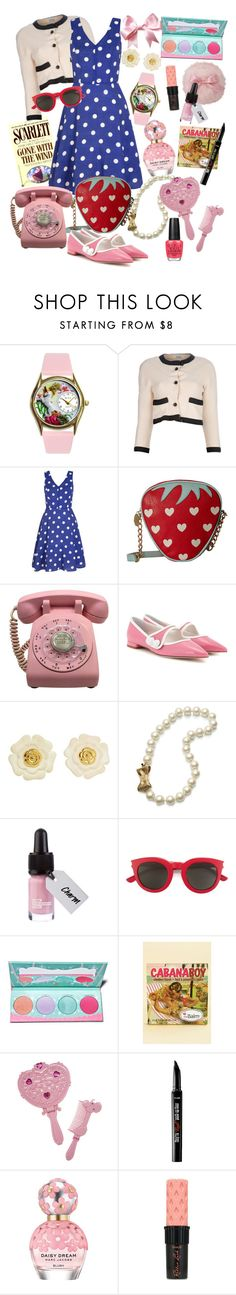 """Lisa Houseman"" by littlemissniamhy ❤ liked on Polyvore featuring Chanel, Yumi, Betsey Johnson, Miu Miu, Kate Spade, Yves Saint Laurent, Sugarpill, TheBalm, Benefit and Marc Jacobs"