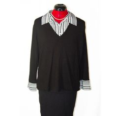 """Covington Black Sweater w/ Attached Shirt Excellent Covington black sweater with attached striped button up collar & cuffs. Very soft fabric. V-neck sweater with 3 buttons on the shirt. Size XL, but would fit a large as well. Excellent condition, no flaws. Length: 24"""", Arm Length: 21"""". 79% Rayon (body), 21% Nylon (collar/cuffs), 97% Polyester & 3% Spandex Covington Sweaters"""