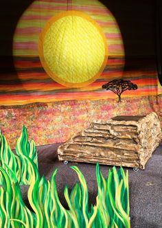 Lion King Jr set complete with backdrop, Pride Rock and grass lands. Available for rental from Give 'Em Props Studio, LLC. Contact us for more information. www.give-em-props-studio.com