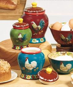 Good Morning Rooster Kitchen Canisters Only Farm Decor Colorful Sets