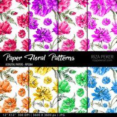 Seamless Floral Patterns Digital Paper 8 Digital by rizapekerart