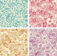 Floral Line Art Seamless Four Patterns Set Royalty Free Stock Vector Art Illustration