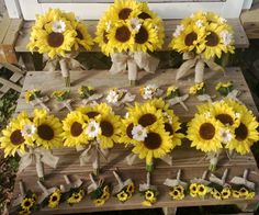 17 piece Sunflower Wedding Package ** The Set is Made to Order and Delivery is approximately 8 weeks from payment date. ** 17 piece set Includes: 1 12 in round Wedding Bouquet with Silk Yellow Sunflowers, Mini Silk White daisies, and Real touch white babies breath wrapped in Natural Burlap. 1 10in round Maid of Honor Wedding Bouquet with Silk Yellow Sunflowers, Mini Silk White daisies, and Real touch white babies breath wrapped in Natural Burlap. 4 8in round Bridesmaids Wedding Bouquet w...