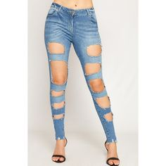 WearAll Extreme Ripped Distressed Skinny Ankle Jeans ($40) ❤ liked on Polyvore featuring jeans, light blue, white skinny ankle jeans, light blue ripped skinny jeans, light blue skinny jeans, white ripped jeans and white distressed jeans