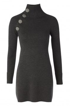 Polo Knit Dress - Grey