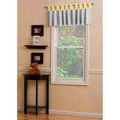 Gray and Yellow Zig Zag Window Valance Tab-Top Style | Carousel Designs  #carouseldesigns  #nursery