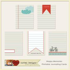Happy Memories Printable Journal Cards By Baersgarten