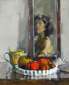 Self Portrait with Tomatoes, Maggie Siner 2010, 18 x 22 ins, oil on linen [I love how loose she works!]