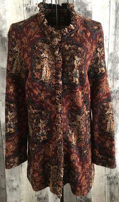 Peruvian Connection Baby Alpaca Cotton Silk Cardigan Sweater Top Tapestry Medium #PeruvianConnection #Cardigan
