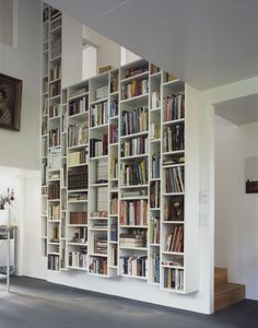 bookshelf inset to wall, great