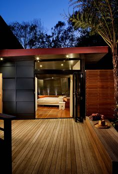 cladding black single pitch roof MCM entry decking clerestory ||| Architect Chris Knapp of Built-Environment Practice. Photo by Owen McGoldrick.