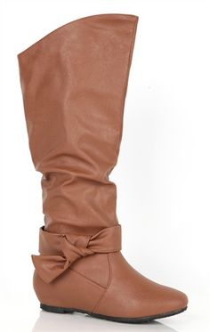 Deb Shops Flat Boot with Slouched Shaft and Side Knot  $37.90