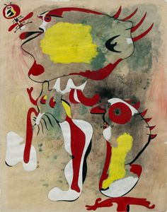 Joan Miró, Two Figures and a Dragonfly, February 1936. Gouache, watercolor, and graphite on paper, 16 3/16 x 12 11/16 inches (41.1 x 32.2…