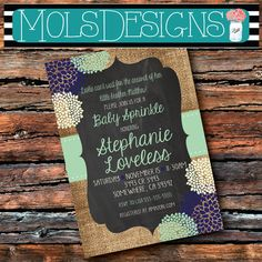 Any Color BABY SPRINKLE BURLAP Couples Blue Mint Having One More Plent to Share Shower Bbq 1st 2nd 3rd Surprise Birthday Invitation