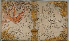 Salammbô de Gustave Flaubert (1862), projet de reliure de Victor Prouvé, vers 1893, aquarelle, Musée de l'Ecole de Nancy à Nancy.