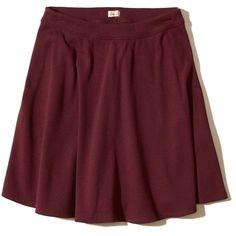 Hollister Ribbed Knit Skater Skirt (100 DKK) ❤ liked on Polyvore featuring skirts, bottoms, saias, burgundy, red knee length skirt, burgundy skirt, circle skirt, red skirt and red circle skirt