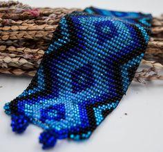 Tribal cuff beaded bracelet, sacred geometry, geometric design, native american jewelry, beadworking, xamanic cuff, ethnic jewelry by wikandah on Etsy