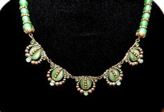Max Neiger Czech Deco Jade Glass Necklace by DresdenLyon on Etsy