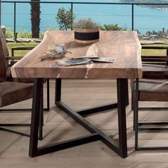 Experience a fascinating journey with the KUMA precious wood table Metal Leg Dining Table, Dining Table Legs, Dining Table Design, Wood Table, Diy Esstisch, Esstisch Design, Welded Furniture, Concrete Furniture, Dinner Tables Furniture