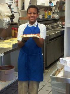 Jacod making pizza at Dominos