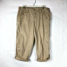 413caa73127b Calvin Klein Jeans Women s Cargo Capri Pants size 8 Cotton Khaki Beige Tan  76K  CalvinKlein