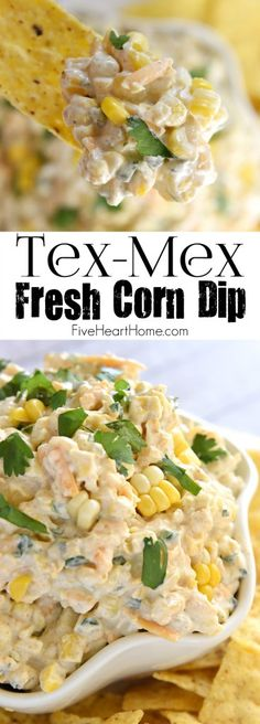Tex-Mex Fresh Corn Dip ~ creamy, cheesy dip featuring fresh roasted corn, laced with cumin, a touch of jalapeño, and fresh cilantro...the perfect appetizer or snack for any summer cookout or get-together! | FiveHeartHome.com