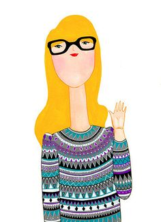 This would be me if I wore my glasses instead of my contacts and were blonde!