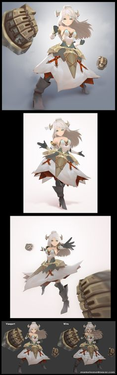 3d low poly character, anime style, Korean 3d character design, hand painted…