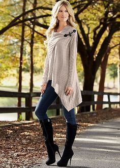 The three pieces you need for a perfect fall outfit. Venus color skinny jeans with Venus basket weave sweater and Venus tie back boot.