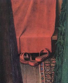 The red shoes. Detail from the Arnolfini Wedding Portrait by Jan Van Eyck, The National Gallery, London. Jan Van Eyck, Arnolfini Portrait, Schuster, Most Famous Paintings, Examples Of Art, European Paintings, Oil Painting Reproductions, Detail Art, Renaissance Art