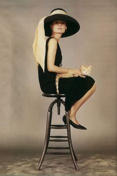 Audrey Hepburn and the cat in Breakfast at Tiffany's