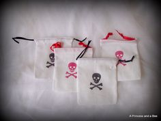 Black and Red Pirate Booty Party Favor Bags by APrincessAndABee