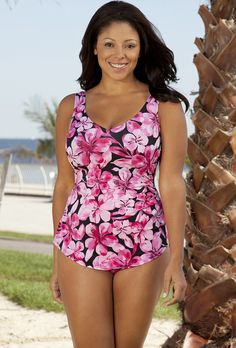 aa26cccecea1c Beach Belle Honolulu Pink Plus Size Sarong Front Swimsuit Plus Size  Swimming Costumes