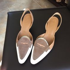 Tod's sling back shoe Tri color sling back shoes. Size 8 1/2.  Inside marked 38 1/2. Worn once. Paid $285 sale but retail at least $425. Tod's Shoes