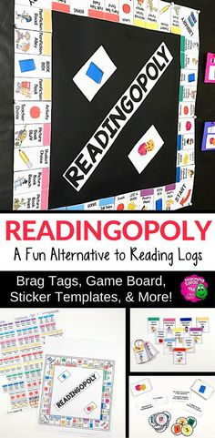 READINGOPOLY: Reading Logs & Summer Reading Program - Great for your 3rd, 4th, 5th, 6th, or 7th grade students. It's a great alternative to reading logs. You can differentiate AND provide student choice. Get students excited about reading again and at the correct level. Use stickers & brag tags - no other prizes needed! You get templates, cards, brag tags, editable pieces, reading logs, book review, & more. {upper elementary, third, fourth, fifth, sixth, seventh graders, middle school}